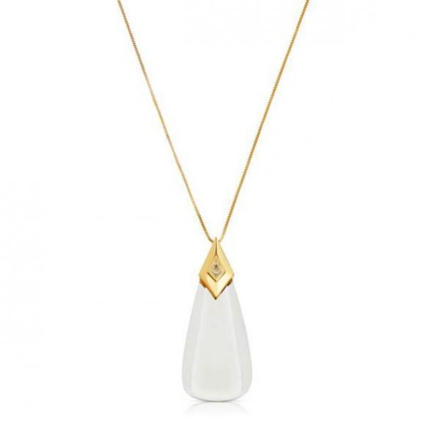 Collar colgante de oro monocito Amelia Moderne con lupa