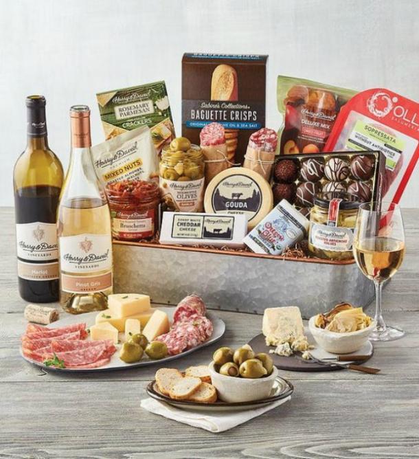 Bandeja de regalos gourmet Harry & David con vino