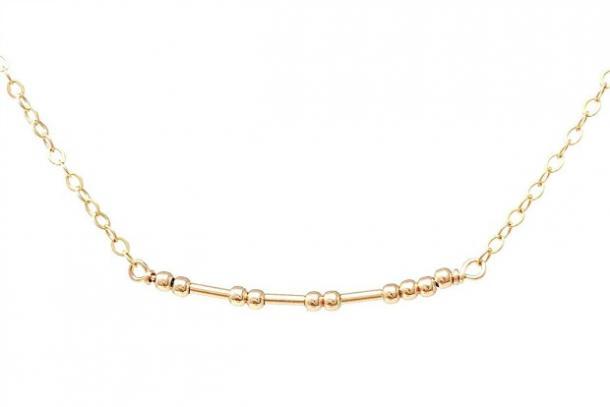 Collar de código Morse con relleno de oro personalizado JENNYandJUDE