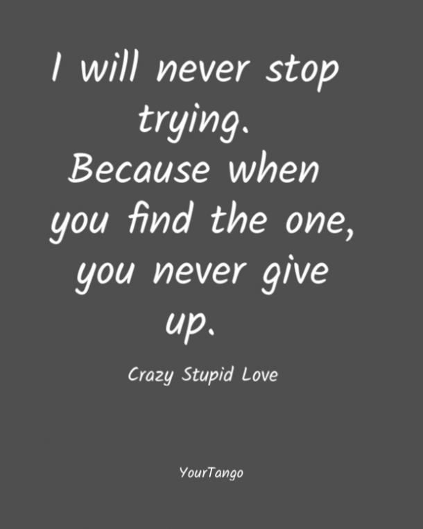 No pararé nunca.  Porque una vez que lo encuentras, nunca te rindes.  Amor estúpido y loco
